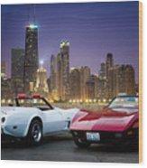 Corvettes In Chicago Wood Print