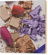 Cosmetics Mess Wood Print by Garry Gay