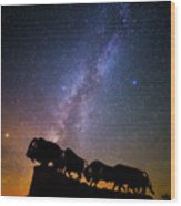 Cosmic Caprock Bison Wood Print