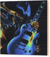 Cosmic Rock Guitar Wood Print