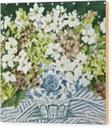 Cosmos And Hydrangeas In A Chinese Vase Wood Print