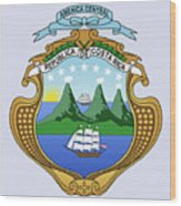 Costa Rica Coat Of Arms Wood Print
