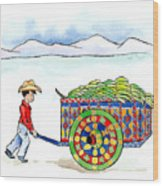 Costa Rican Banana Cart Wood Print