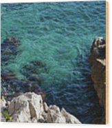 Cote D Azur - Stark White And Silky Azure Blue Wood Print
