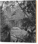 Cottage Black White Gardens Louisiana  Wood Print