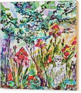 Cottage Garden Angel And Irises Wood Print