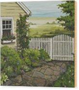 Cottage Garden Beach Getaway Wood Print