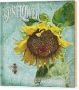 Cottage Garden - Sunflower Standing Tall Wood Print