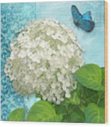 Cottage Garden White Hydrangea With Blue Butterfly Wood Print