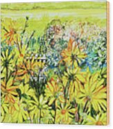 Cottage Gate Seen Through Sun Daisies Wood Print