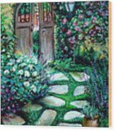 Cottage Gates Wood Print