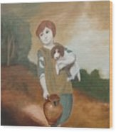 Cottage Girl With Dog And Pitcher Wood Print