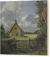 Cottage In A Cornfield Wood Print by John Constable