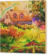 Cottage In Maine Wood Print