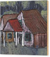 Cottage In The Woods Wood Print