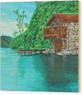 Cottage On Lake  Wood Print
