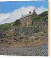 Cottage On Rocks At Port Quin - P4a16009 Wood Print