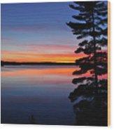 Cottage Sunset Wood Print