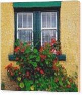 Cottage Window, Co Antrim, Ireland Wood Print
