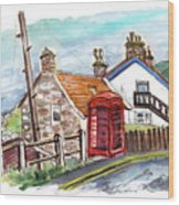Cottages In Runswick Bay Wood Print