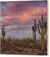 Cotton Candy Pink Sonoran Sunrise  Wood Print