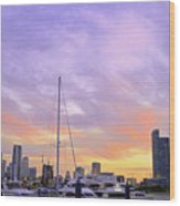 Cotton Candy Sunset Over Miami Wood Print