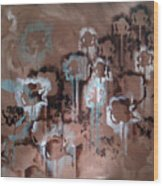 Cotton Impression In Brown And Teal Wood Print