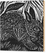 Cottontail Block Print Wood Print by Ellen Miffitt