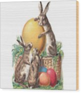 Cottontails And Eggs Wood Print