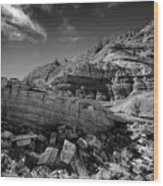 Cottonwood Creek Strange Rocks 3 Bw Wood Print by Roger Snyder