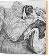 Couch Potato Greyhound Dog Print Wood Print by Kelli Swan