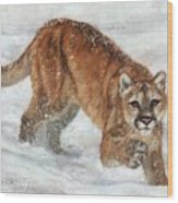 Cougar In The Snow Wood Print
