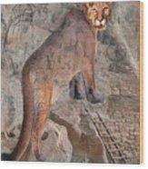 Cougar Rocks, Southwest Mountain Lion Wood Print