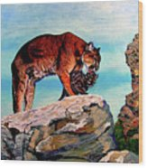 Cougars Mother and Cub Wood Print