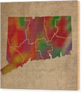 Counties Of Connecticut Colorful Vibrant Watercolor State Map On Old Canvas Wood Print