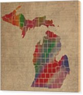 Counties Of Michigan Colorful Vibrant Watercolor State Map On Old Canvas Wood Print