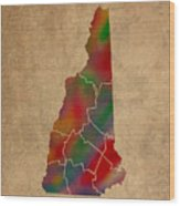 Counties Of New Hampshire Colorful Vibrant Watercolor State Map On Old Canvas Wood Print