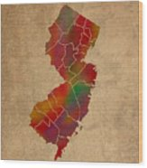 Counties Of New Jersey Colorful Vibrant Watercolor State Map On Old Canvas Wood Print