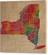 Counties Of New York Colorful Vibrant Watercolor State Map On Old Canvas Wood Print