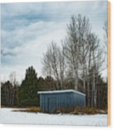 Country Barn In The Snow Wood Print