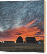 Country Barns Sunrise Wood Print