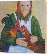 Country Chickens Wood Print