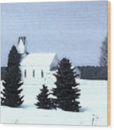 Country Church In Winter Wood Print
