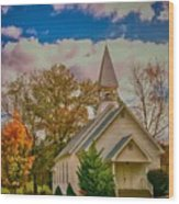 Country Church Wood Print