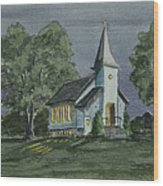 Country Church On A Summer Night Wood Print