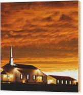 Country Church Sundown Wood Print