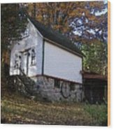 Country Cottage In Autumn Wood Print