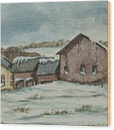 Country Farm In Winter Wood Print
