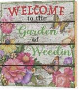 Country Garden Sign-e Wood Print