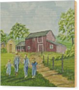 Country Kids Wood Print
